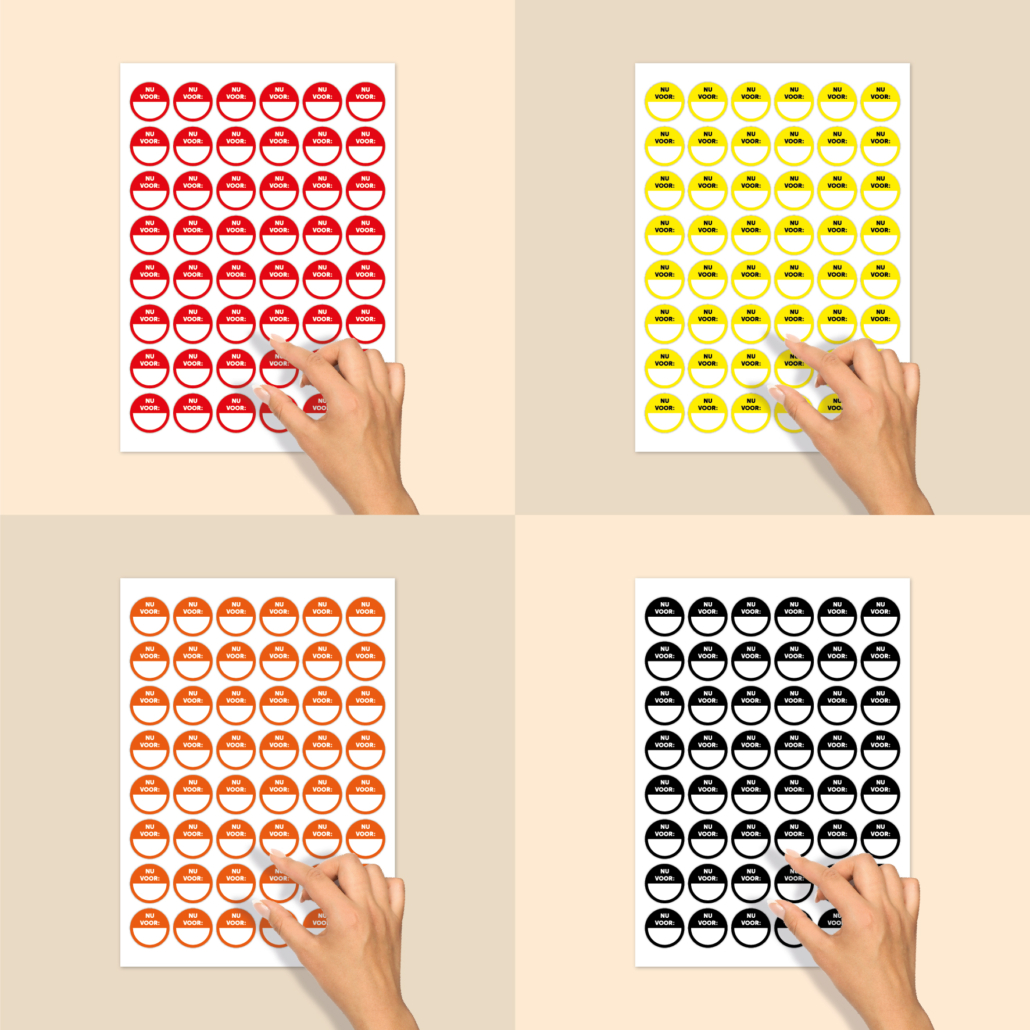 Stickervel beschrijfbare stickers 'Nu voor' rood, geel, oranje, zwart rond 30mm