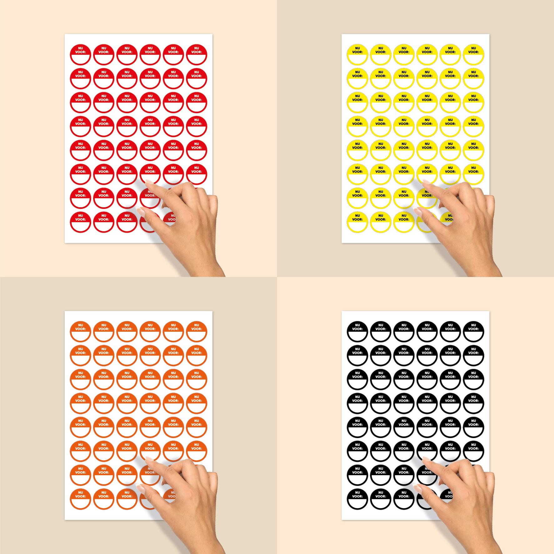 Stickervel beschrijfbare stickers 'Nu voor' geel-wit-zwart rond 30mm