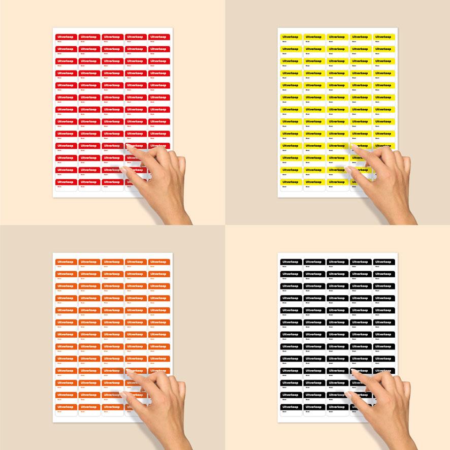 Stickervel beschrijfbare 'Uitverkoop' stickers rood, geel, oranje, zwart rechthoek 38x21mm