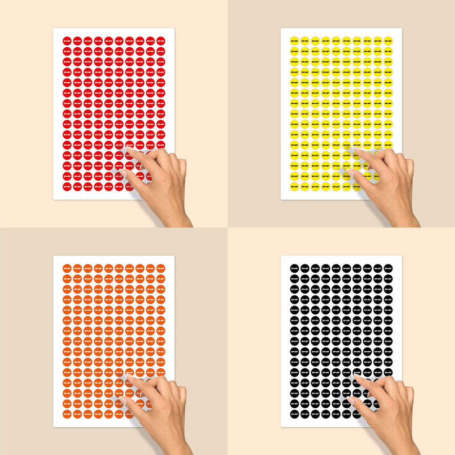 Stickervel bril stickers 'OP=OP' rood, geel, oranje, zwart rond 15mm