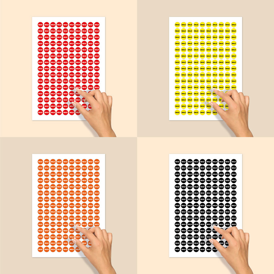 Stickervel bril stickers 'Sale' rood, geel, oranje, zwart rond 15mm