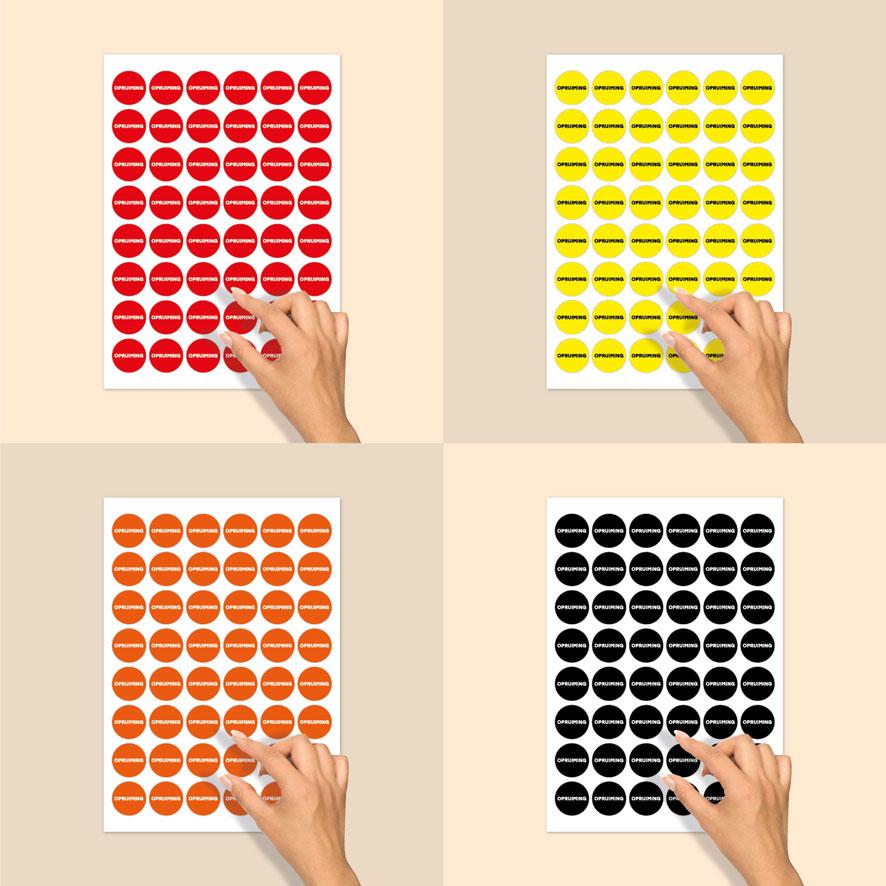 Stickervel 'Opruiming' stickers rood, geel, oranje, zwart rond 30mm