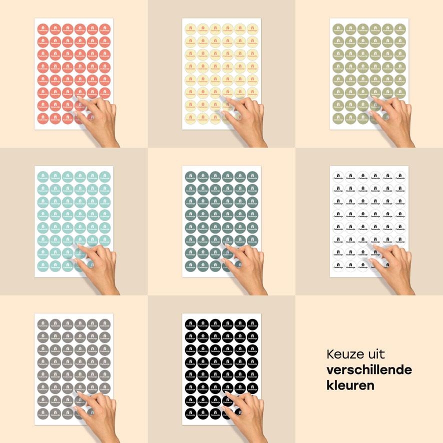 Stickervel stickers 'Cadeautje' lichtrood, lichtgeel, kaki, mint, donkercyaan, wit, donkergrijs, zwart rond 30mm