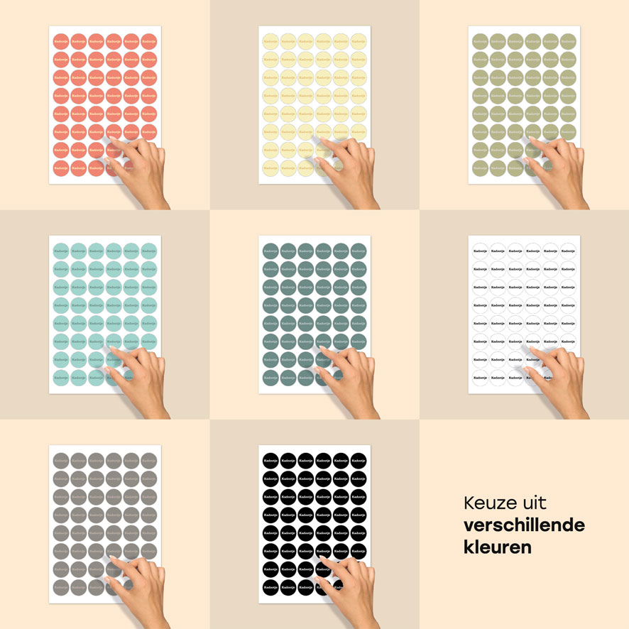 Stickers 'Kadootje' stickervel lichtrood-lichtgeel rond 30mm