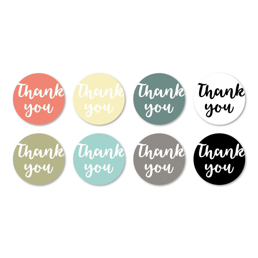 Thank you stickers lichtrood, lichtgeel, kaki, mint, donkercyaan, wit, donkergrijs, zwart rond 30mm witte achtergrond