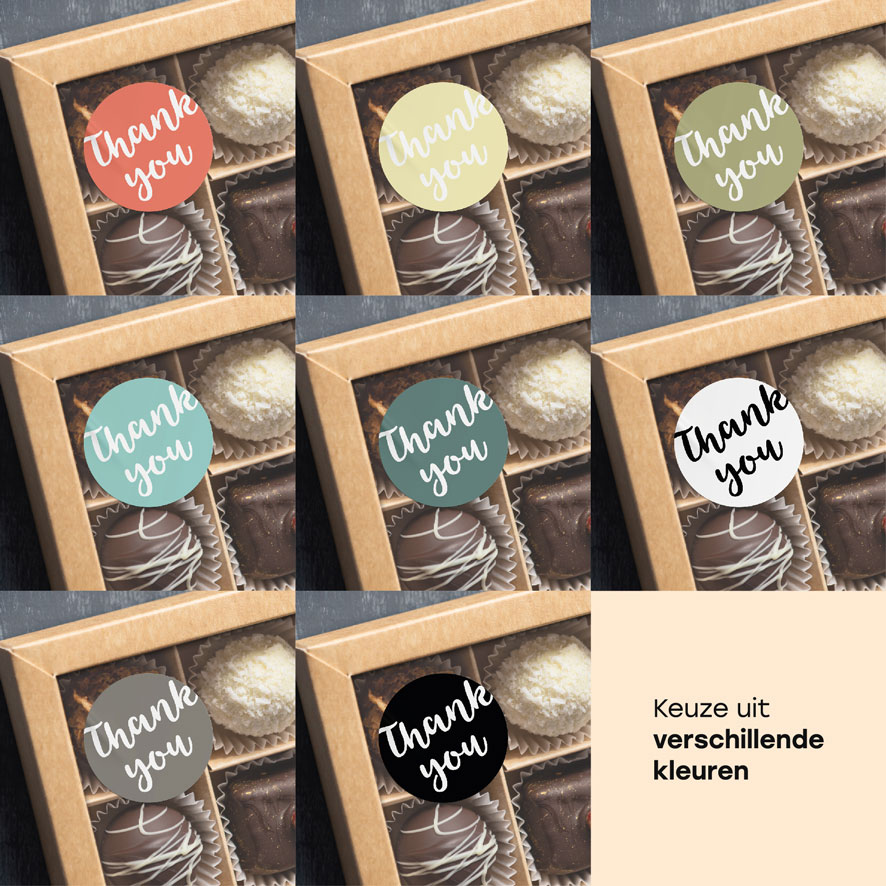 Thank you stickers lichtrood, lichtgeel, kaki, mint, donkercyaan, donkergrijs, wit, zwart rond 30mm chocolade doos