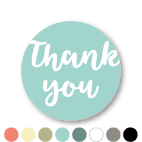 Thank you stickers donkercyaan-wit rond 30mm