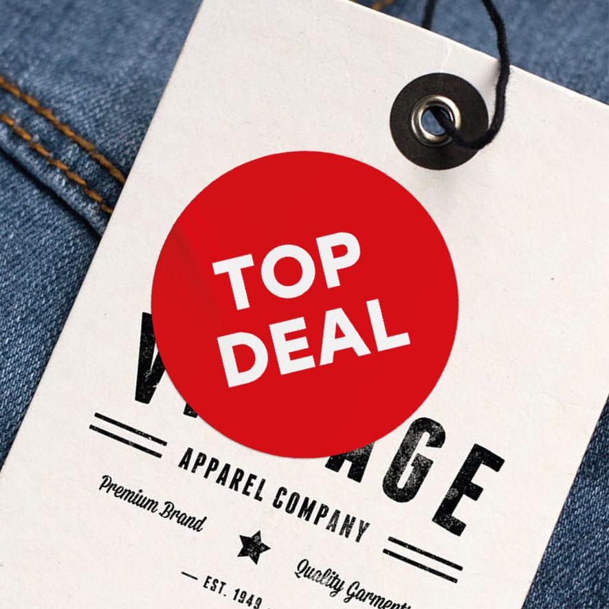 Top Deal sticker rood rond 30mm kleding hangtag