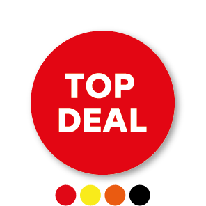 Top deal stickers oranje-wit rond 30mm