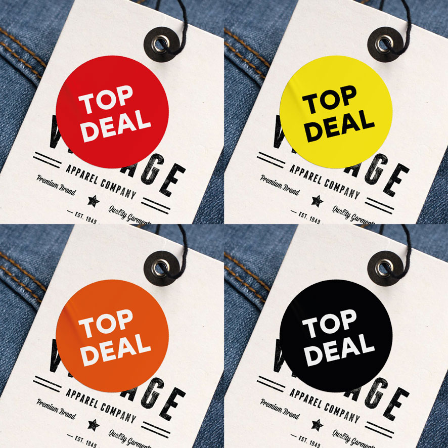 Top deal sticker rood rond 30mm hangtag
