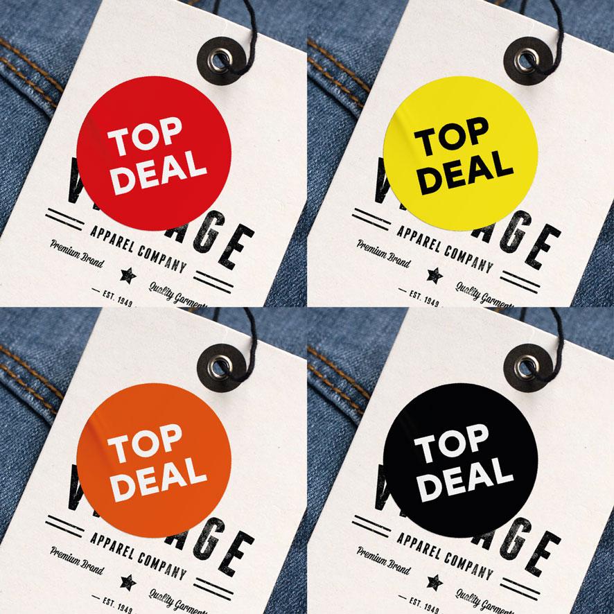 Top Deal stickers rood, geel, oranje, zwart rond 30mm kleding hangtag