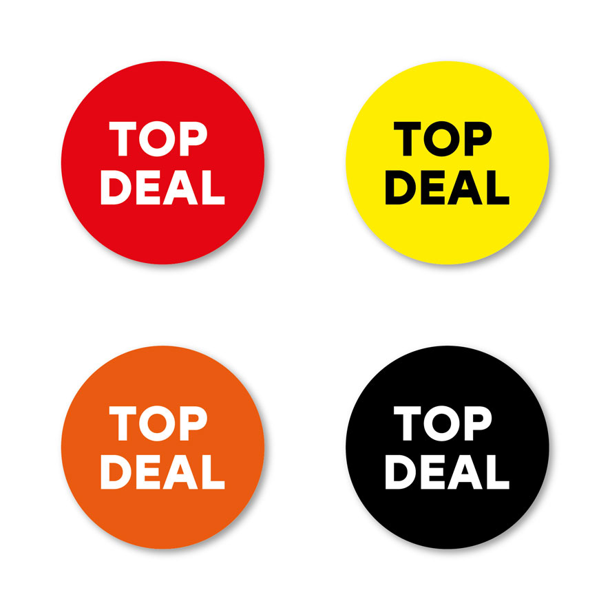 Top Deal stickers rood, geel, oranje, zwart rond 30mm witte achtergrond