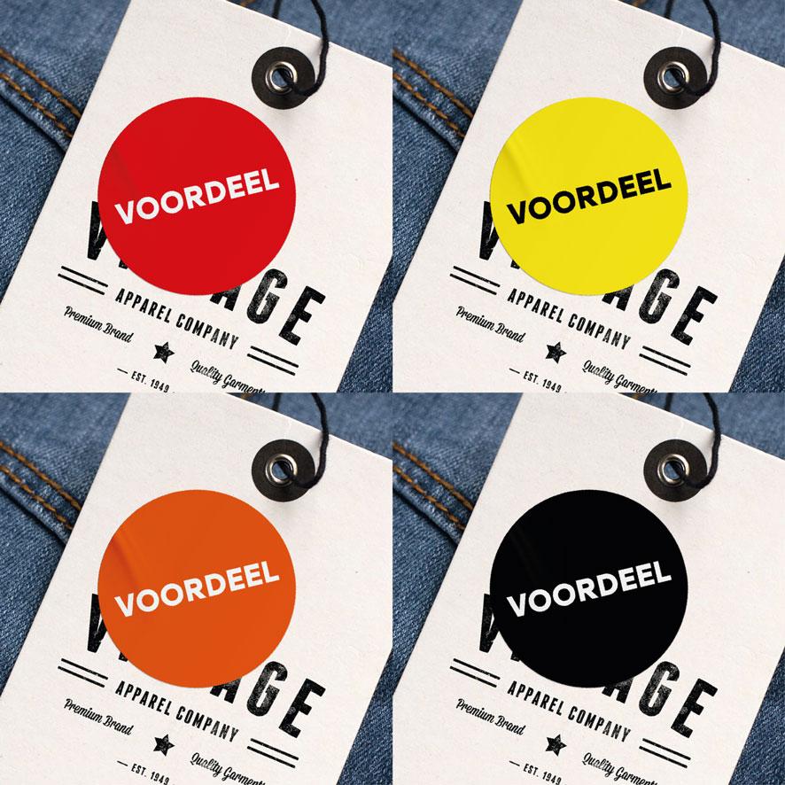 Voordeel stickers rood, geel, oranje, zwart rond 30mm kleding hangtag