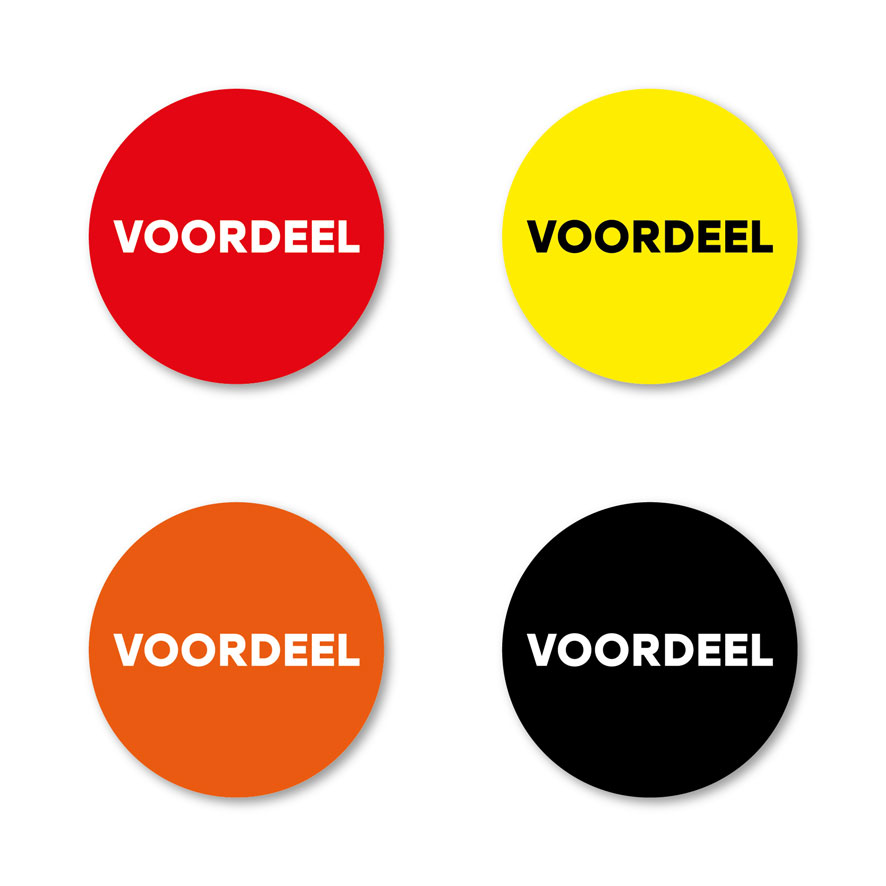Voordeel stickers rood, geel, oranje, zwart rond 30mm witte achtergrond