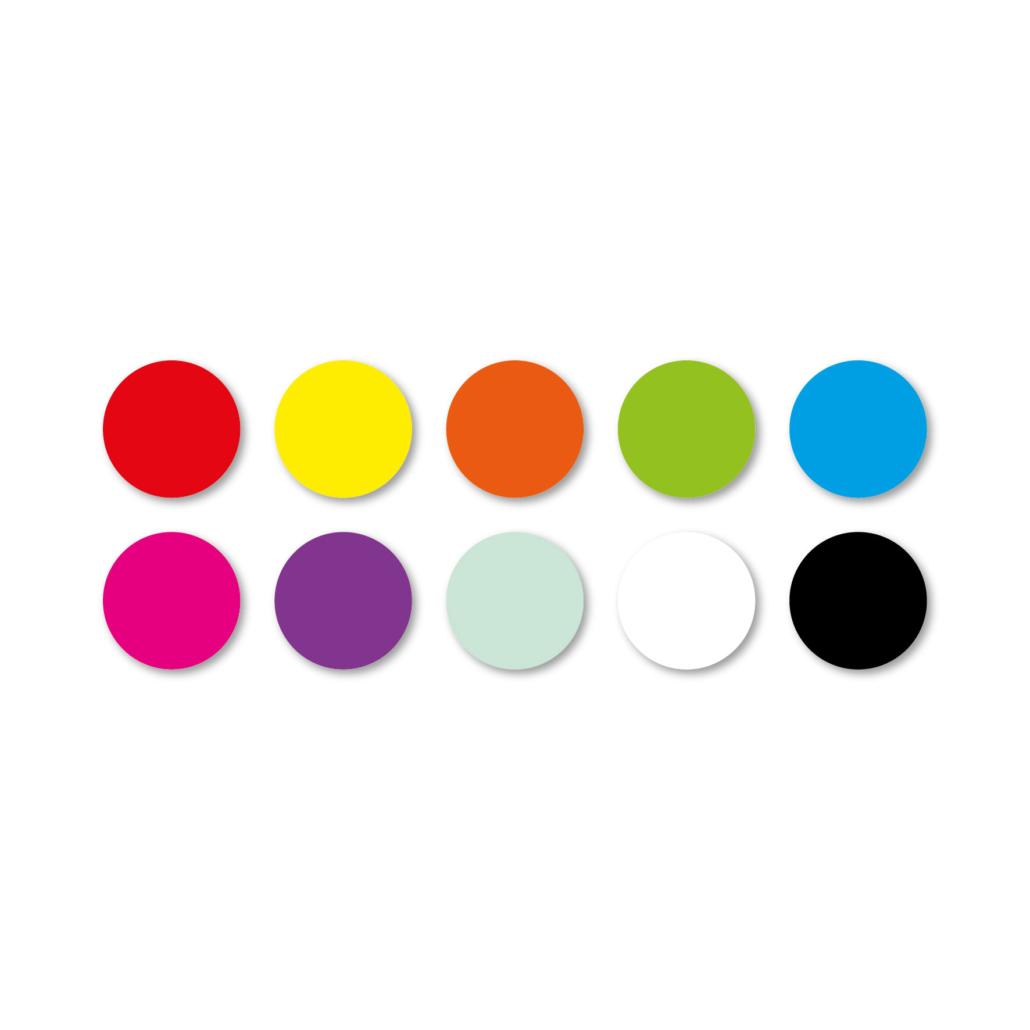 Blanco stickervel rood, geel, oranje, groen, blauw, magenta, paars, mint, wit rond 15mm witte achtergrond