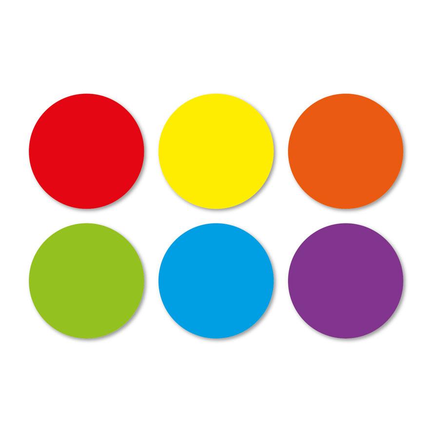 Blanco stickervel rood, geel, oranje, groen, blauw, paars rond 30mm witte achtergrond