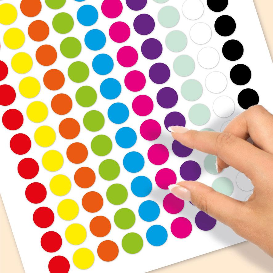 Blanco stickervel rood, geel, oranje, groen, blauw, magenta, paars, mint, wit rond 15mm