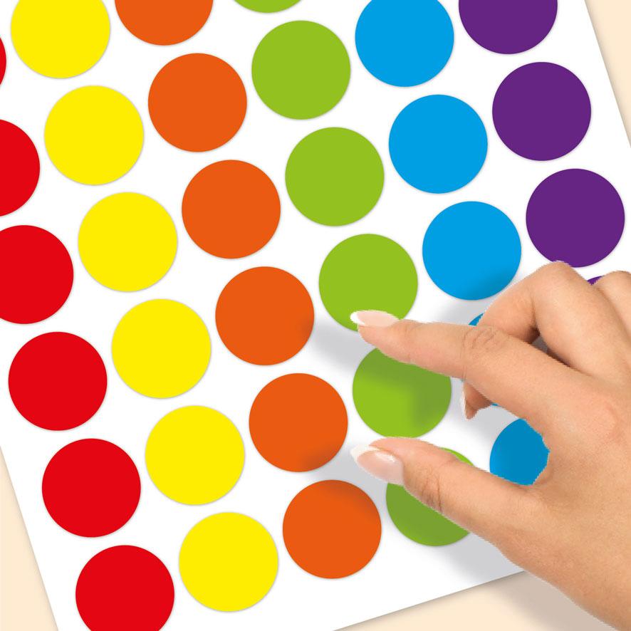 Blanco stickervel rood, geel, oranje, groen, blauw, paars rond 30mm