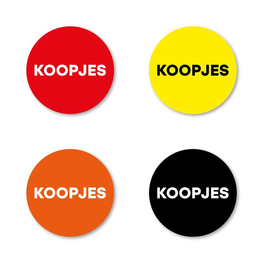 Koopjes stickers rood, geel, wit, zwart rond 15mm witte achtergrond