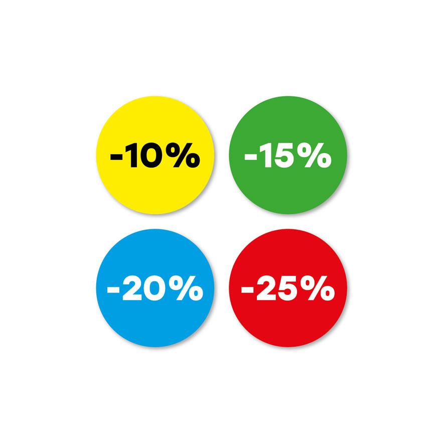 Kortingsstickers -10%, -15%, -20%, -25% geel, groen, blauw, rood rond 30mm