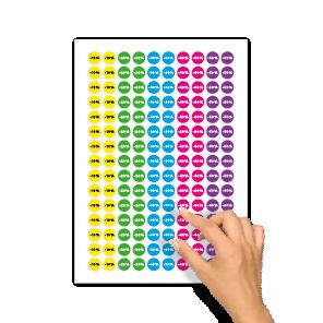 Kortingsstickers -10%, -20%, -30%, -40%, -50% geel, groen, blauw, magenta, paars rond 15mm