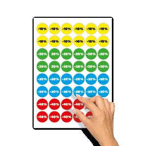 Kortingsstickers -10%, -20%, -30%, -40% geel, groen, blauw, rood rond 30mm