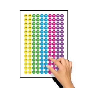Kortingsstickers -10%, -20%, -30%, -50%, -70% geel, groen, blauw, magenta, paars rond 15mm