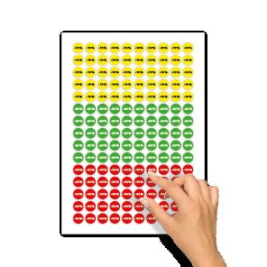 Kortingsstickers -10%, -20%, -30% geel, groen, rood rond 15mm