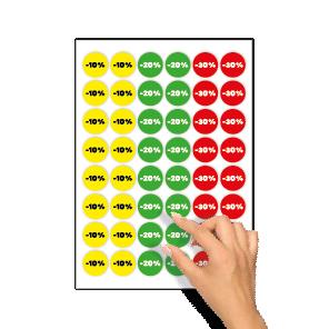 Kortingsstickers -10%, -20%, -30% geel, groen, rood rond 30mm