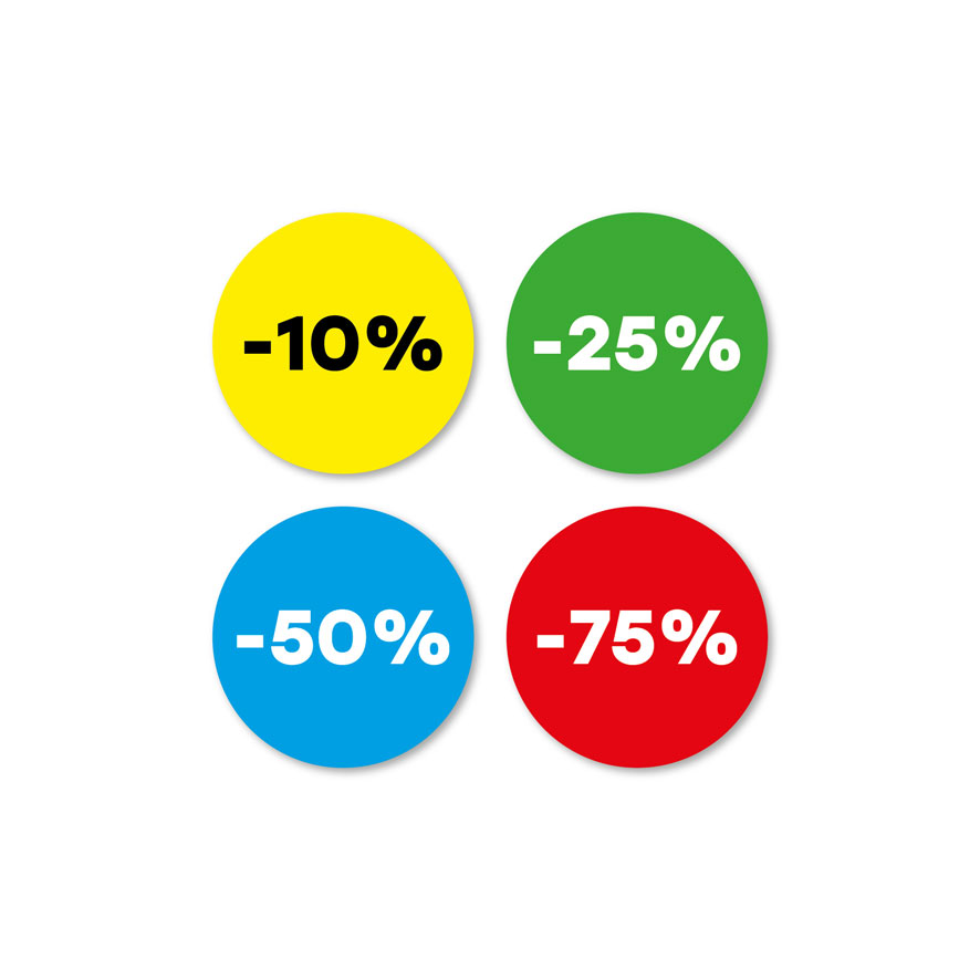 Kortingsstickers -10%, -25%, -50%, -75% geel, groen, blauw, rood rond 30mm