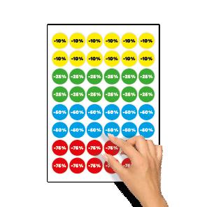 Kortingsstickers -10%, -25%, -50%, -75% geel, groen, blauw, rood kleuren rond 30mm