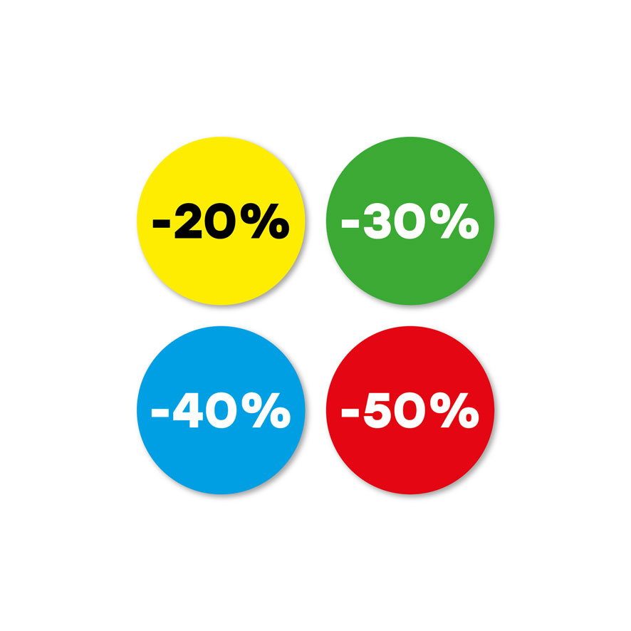 Kortingsstickers -20%, -30%, -40%, -50% geel, groen, blauw, rood rond 30mm