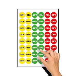 Kortingsstickers -25%, -50%, -75% geel, groen, rood rond 30mm