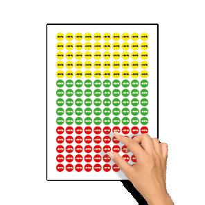 Kortingsstickers -30%, -40%, -50% geel, groen, rood rond 15mm