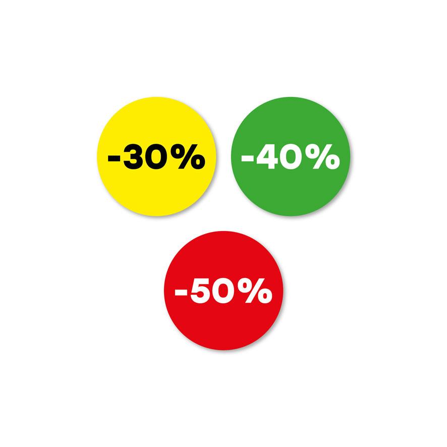 Kortingsstickers -30%, -40%, -50% geel, groen, rood rond 30mm