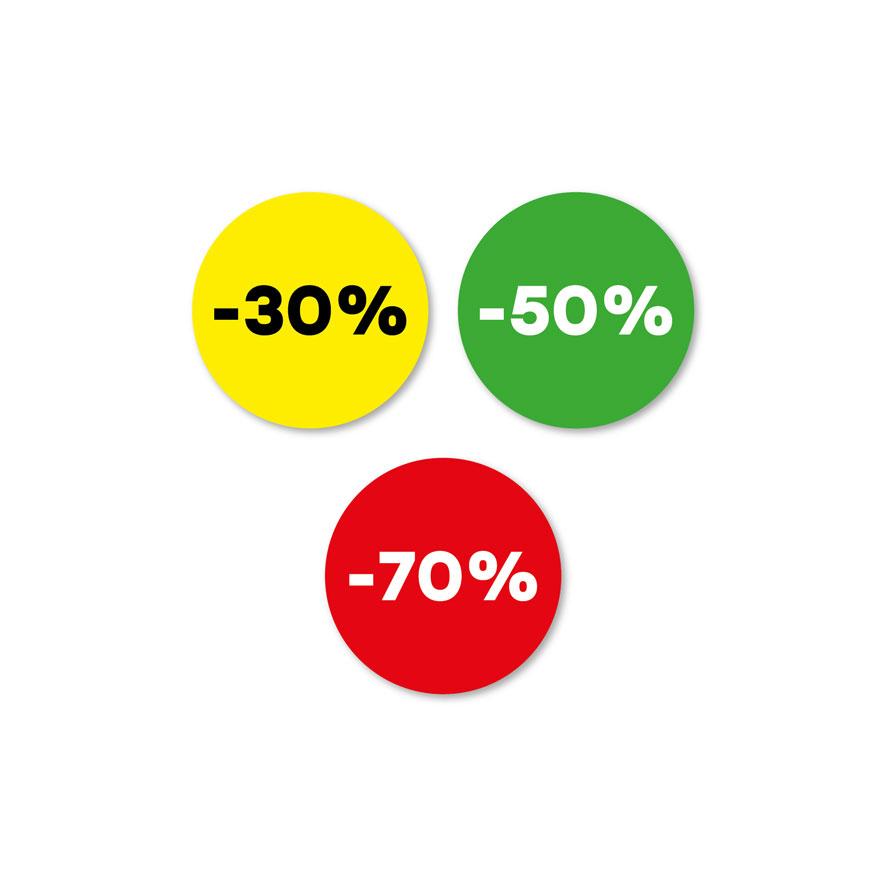 Kortingsstickers -30%, -50%, -70% geel, groen, rood rond 30mm
