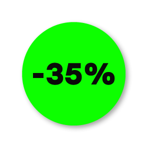 Kortingsstickers fluor groen-zwart rond 30mm