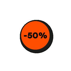Kortingsstickers fluor oranje-zwart rond 15mm