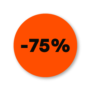 Kortingsstickers fluor oranje-zwart rond 30mm