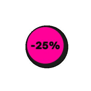 Kortingsstickers fluor roze-zwart rond 15mm