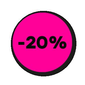 Kortingsstickers fluor roze-zwart rond 30mm