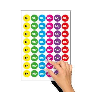 Prijsstickers 5 euro, 10 euro, 20 euro, 30 euro, 40 euro, 50 euro geel, groen, blauw, magenta, paars, rood rond 30mm