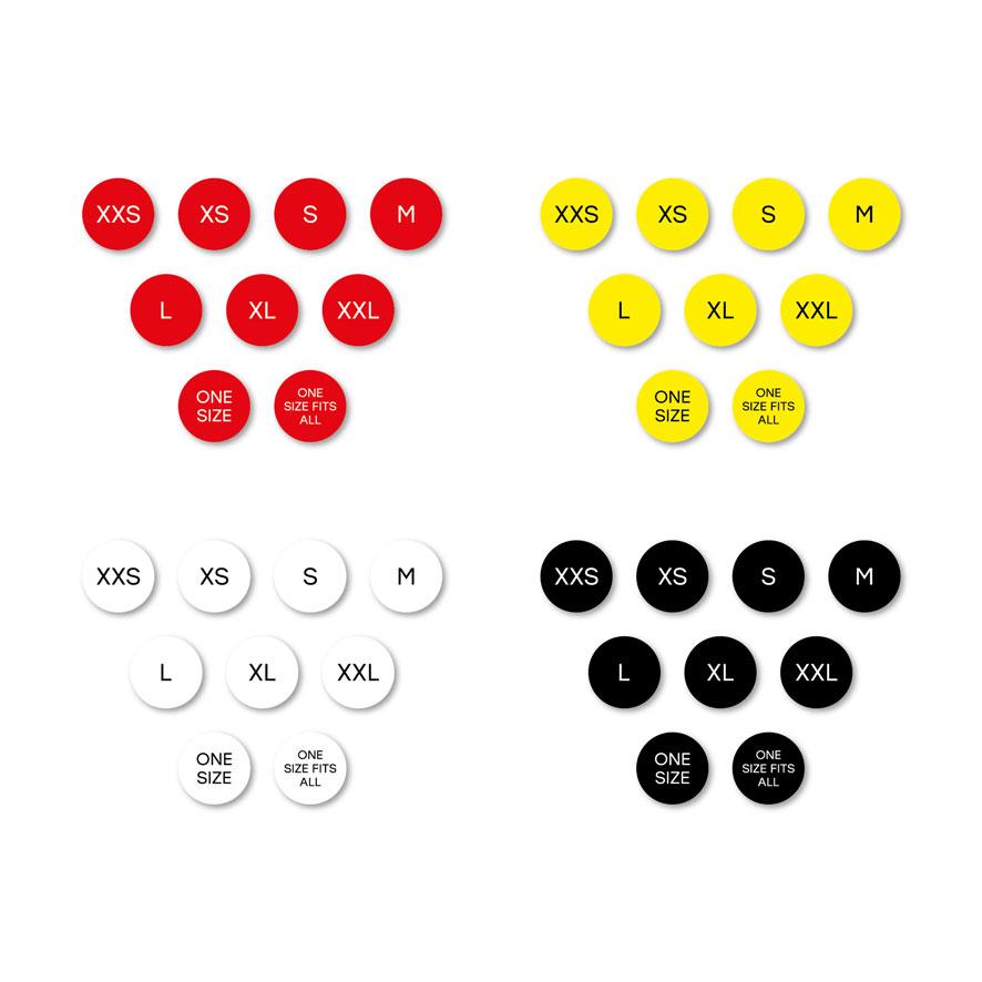Maatstickers XXS, XS, S, M, L, XL, XXL ONE SIZE, ONE SIZE FITS ALL rood, geel, wit, zwart rond 15mm witte achtergrond