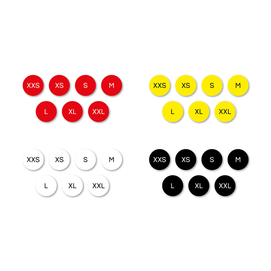 Maatstickers XXS, XS, S, M, L, XL, XXL rood, geel, wit, zwart rond 15mm witte achtergrond