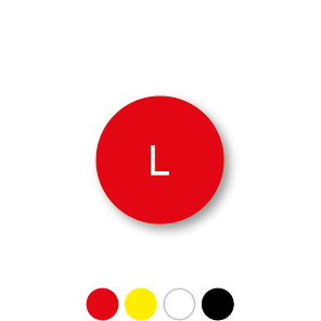 Maatstickers L rond 15mm