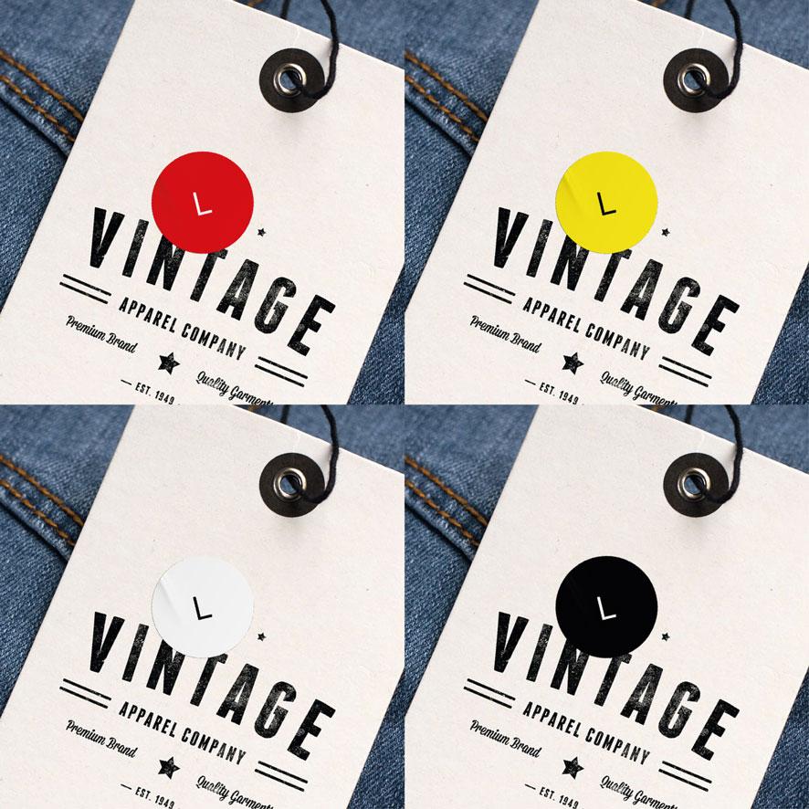 Maatstickers L rood, geel, wit, zwart rond 15mm kleding hangtag