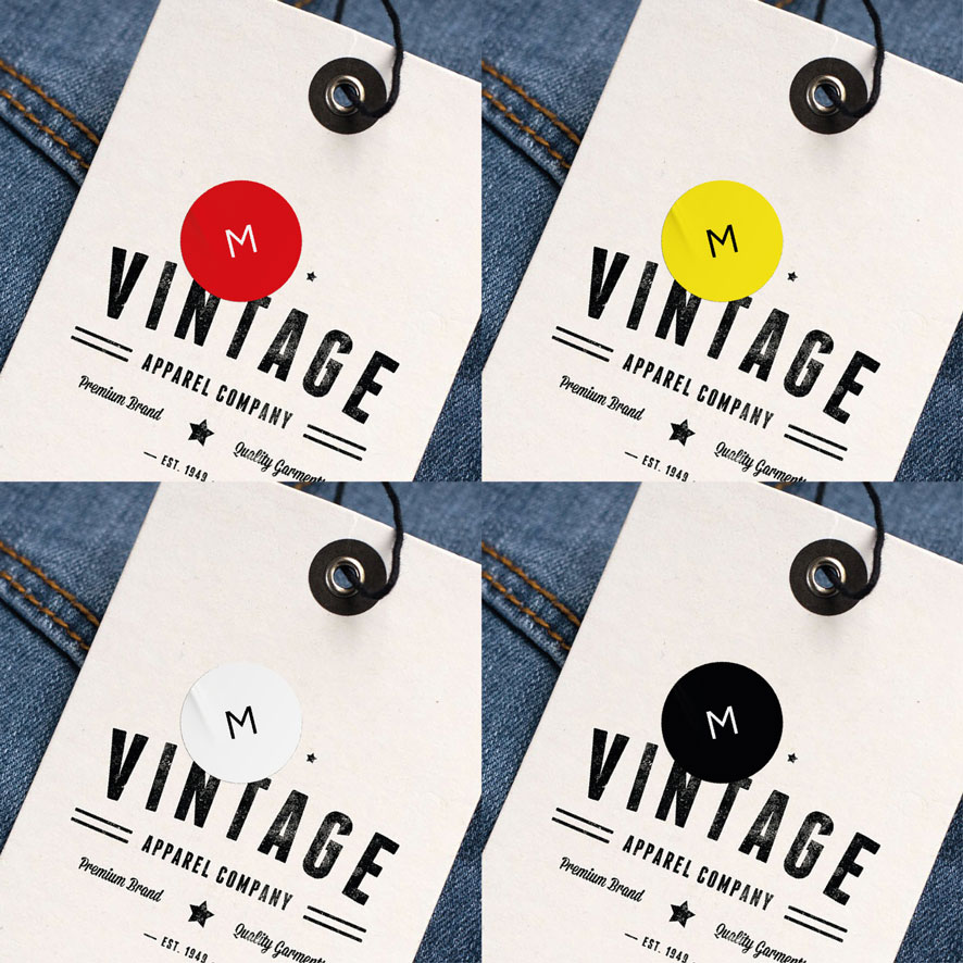 Maatstickers M rood, geel, wit, zwart rond 15mm kleding hangtag