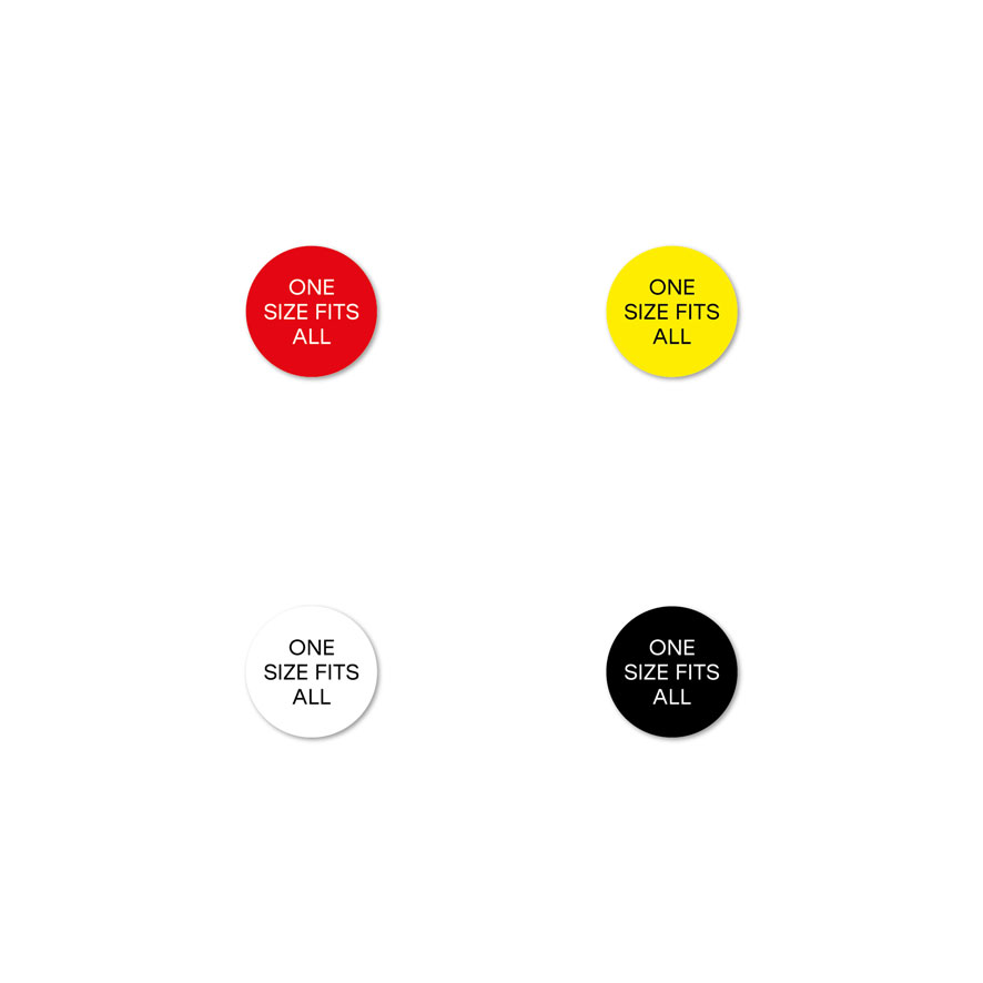 Maatstickers ONE SIZE FITS ALL rood, geel, wit, zwart rond 15mm witte achtergrond