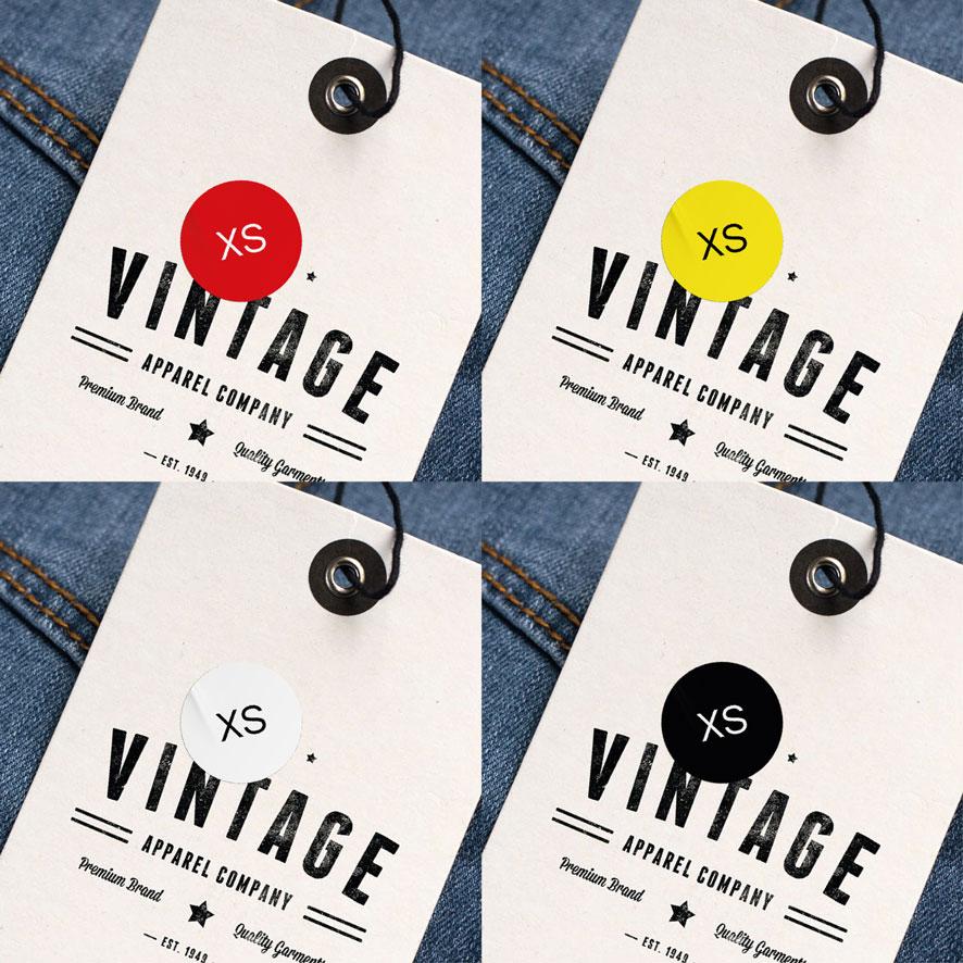 Maatstickers XS rood, geel, wit, zwart rond 15mm kleding hangtag