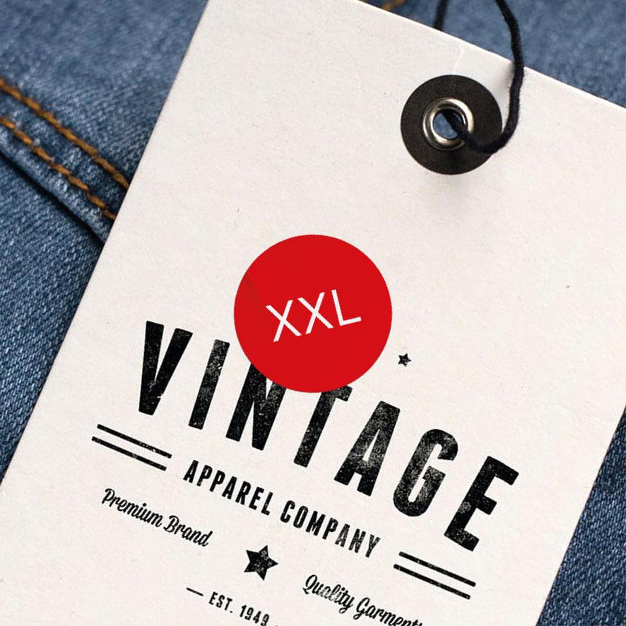 Maatstickers XXL rood rond 15mm kleding hangtag